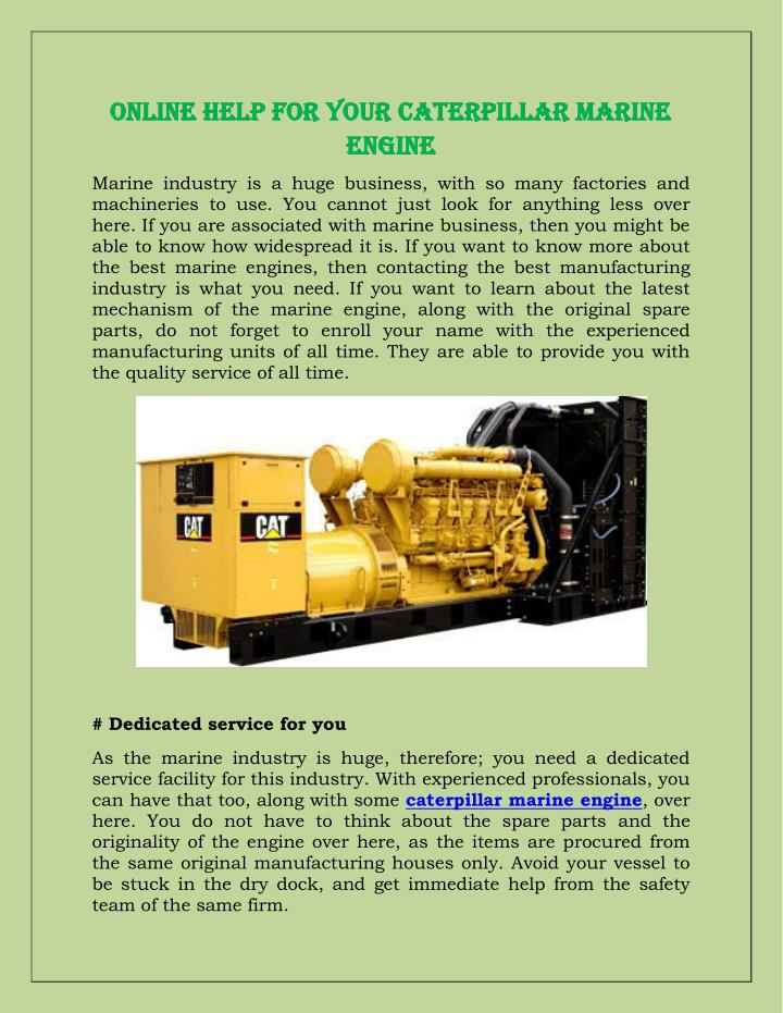 Online Help For Your Caterpillar Marine
