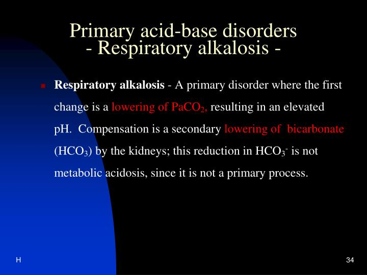 Primary acid-base disorders
