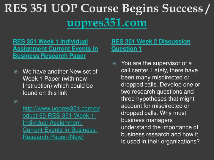 RES 351 UOP Course