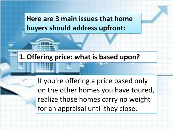 Here are 3 main issues that home buyers should address upfront:
