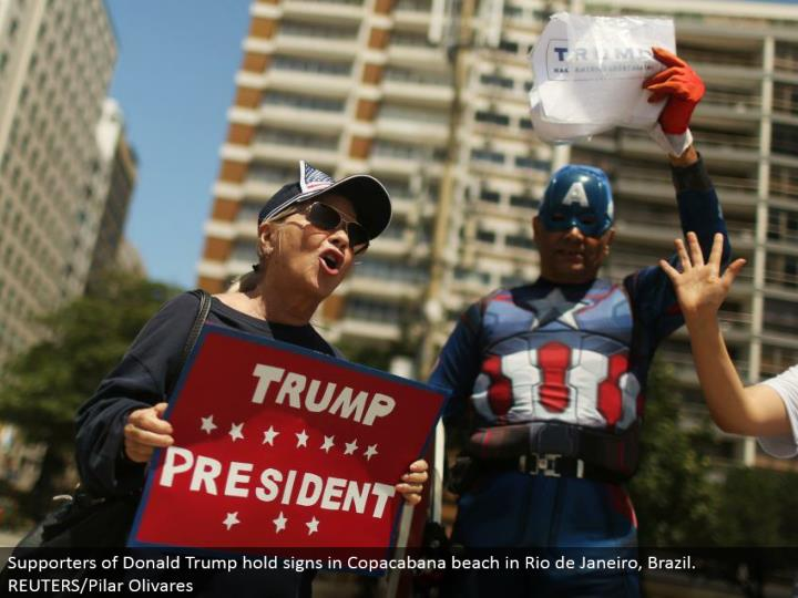 Supporters of Donald Trump hold signs in Copacabana shoreline in Rio de Janeiro, Brazil. REUTERS/Pilar Olivares