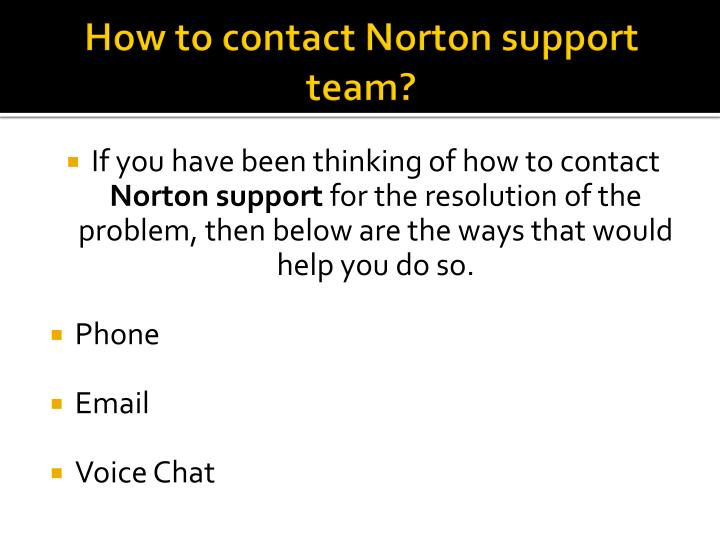 How to contact Norton support team