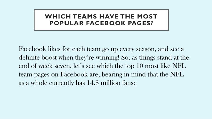 Which teams have the most popular facebook pages