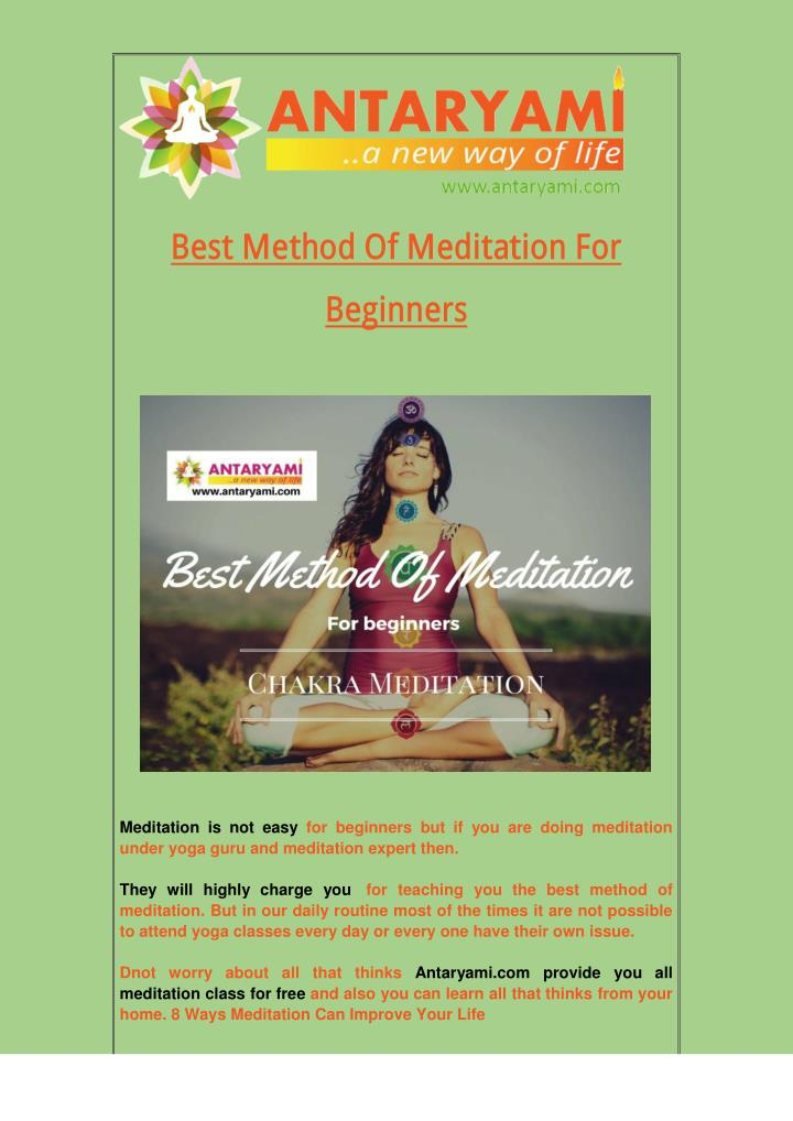 Best Method Of Meditation For