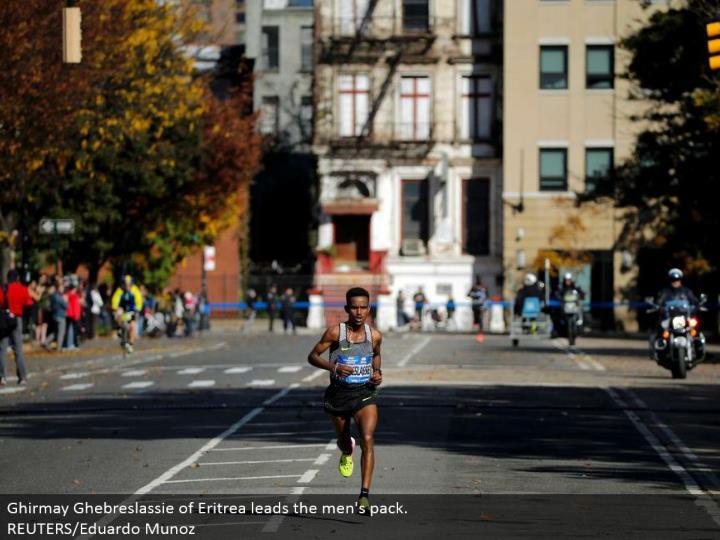 Ghirmay Ghebreslassie of Eritrea leads the men's pack. REUTERS/Eduardo Munoz