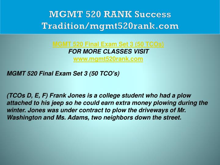 MGMT 520 RANK Success Tradition/mgmt520rank.com