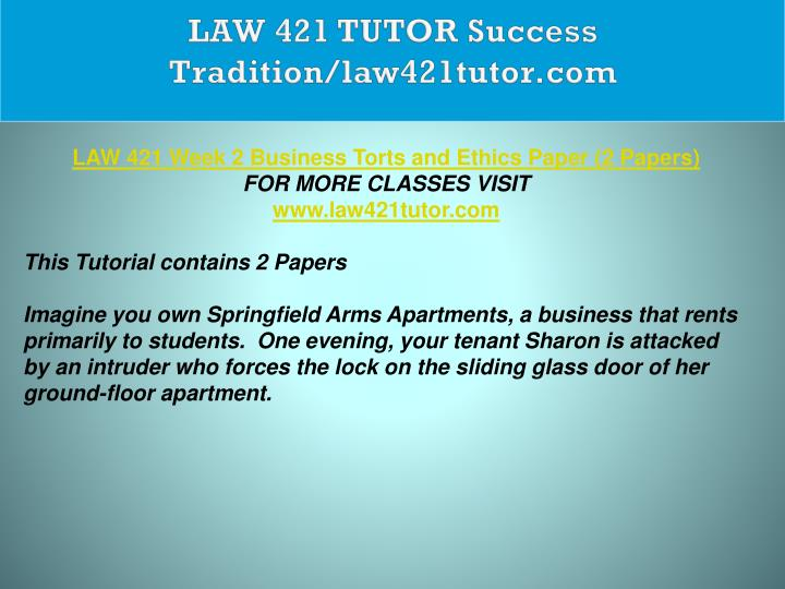 LAW 421 TUTOR Success Tradition/law421tutor.com