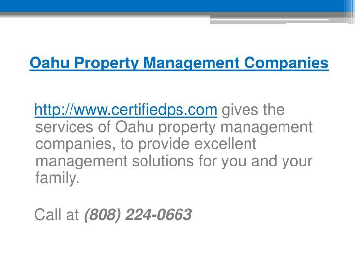 Oahu Property Management Companies