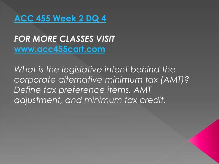 ACC 455 Week 2 DQ 4