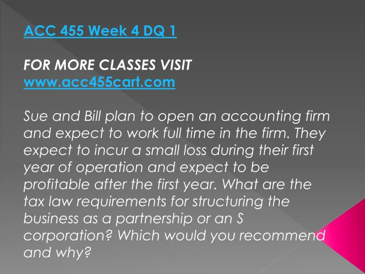 ACC 455 Week 4 DQ 1