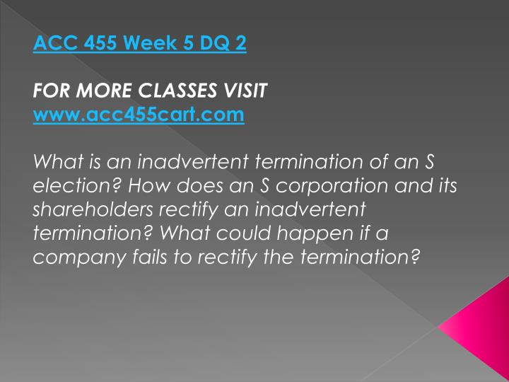 ACC 455 Week 5 DQ 2