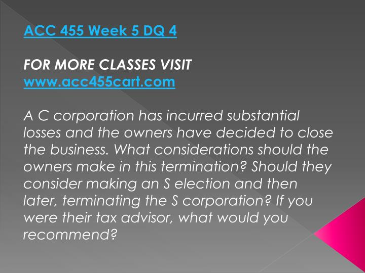 ACC 455 Week 5 DQ 4