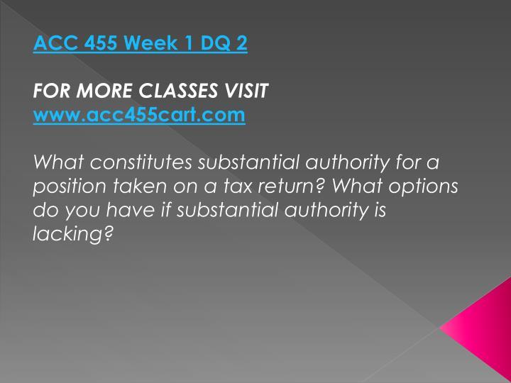 ACC 455 Week 1 DQ 2