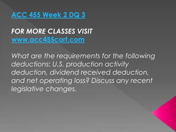 ACC 455 Week 2 DQ 3