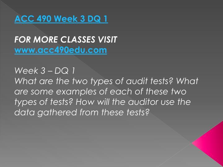 ACC 490 Week 3 DQ 1