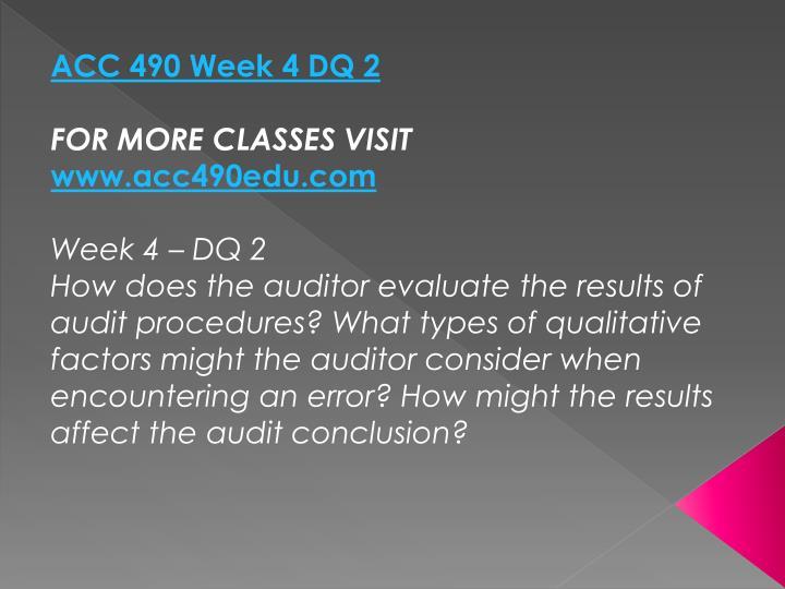 ACC 490 Week 4 DQ 2