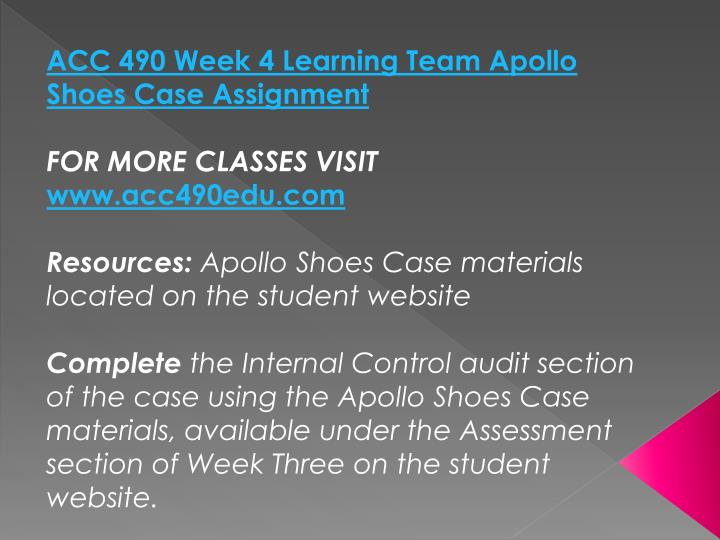 ACC 490 Week 4 Learning Team Apollo Shoes Case Assignment