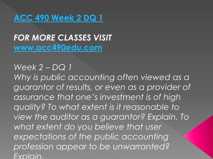ACC 490 Week 2 DQ 1