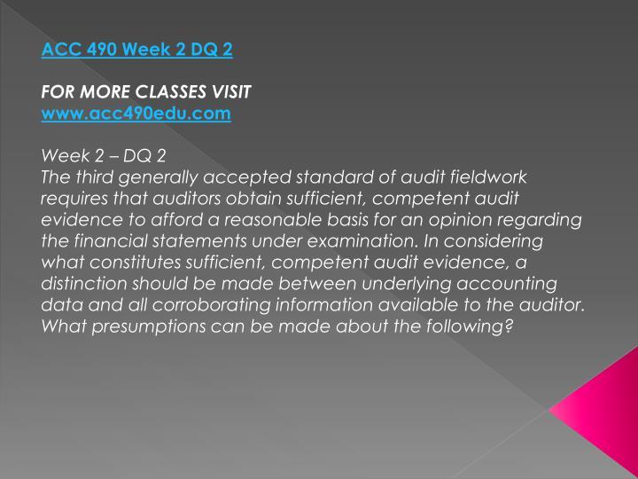 ACC 490 Week 2 DQ 2