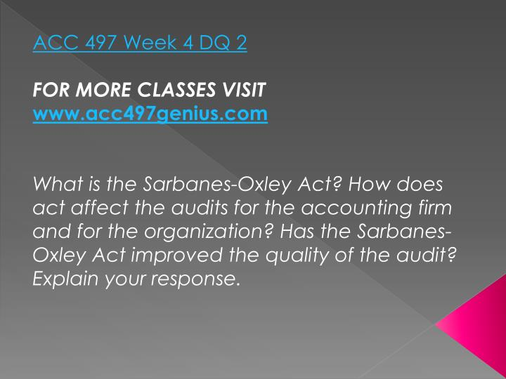 ACC 497 Week 4 DQ 2