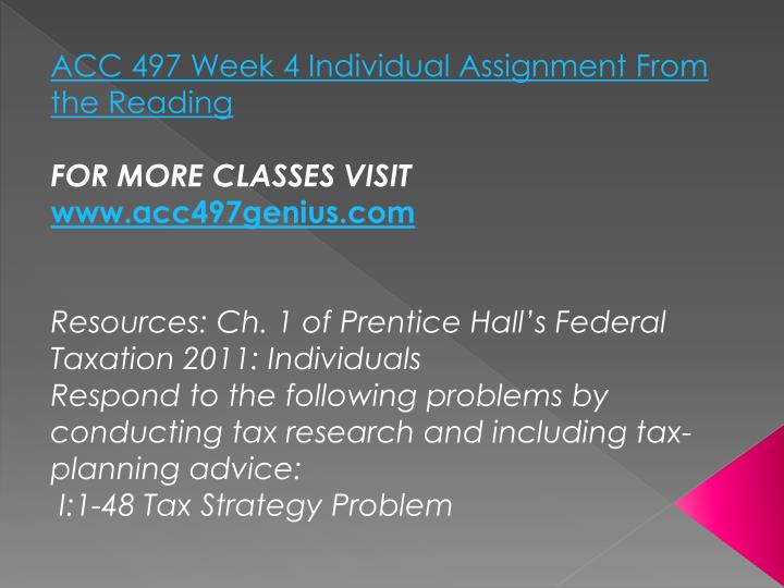 ACC 497 Week 4 Individual Assignment From the Reading