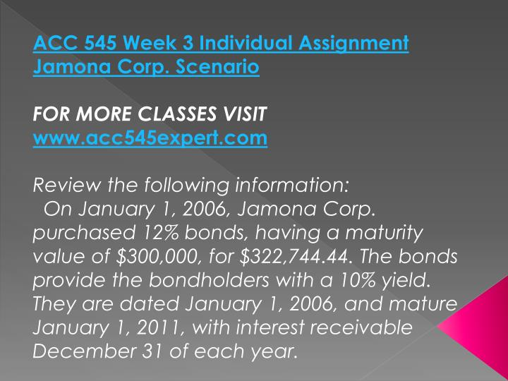 ACC 545 Week 3 Individual Assignment