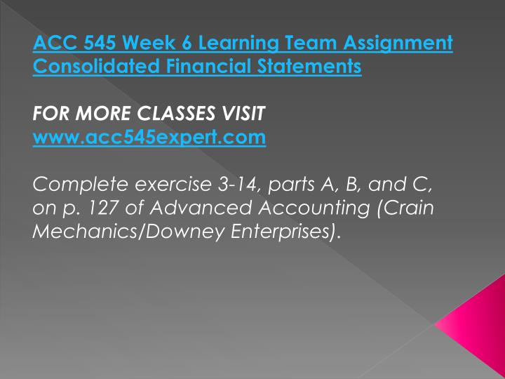 ACC 545 Week 6 Learning Team Assignment Consolidated Financial Statements