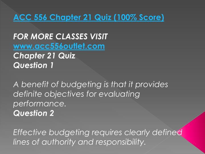 ACC 556 Chapter 21 Quiz (100% Score)