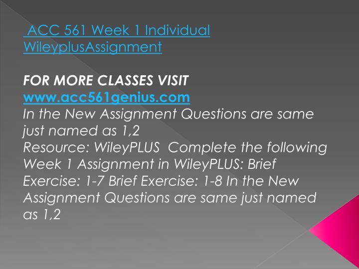 ACC 561 Week 1 Individual