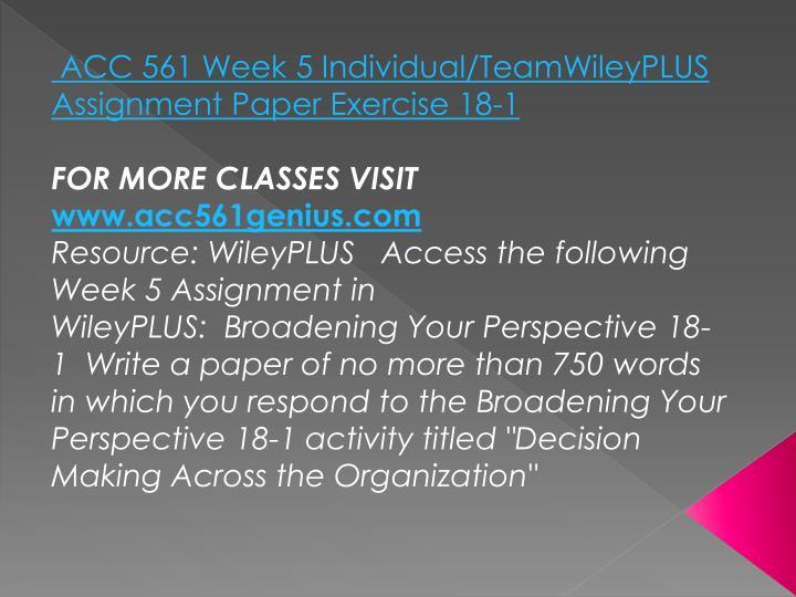ACC 561 Week 5 Individual/