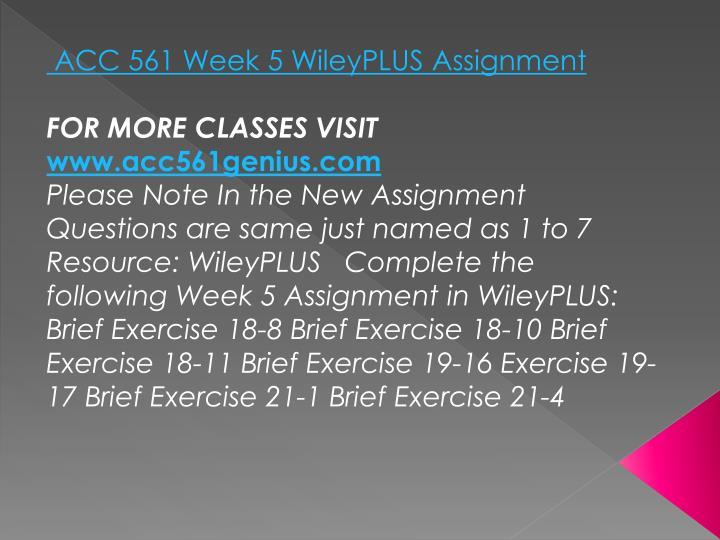 ACC 561 Week 5