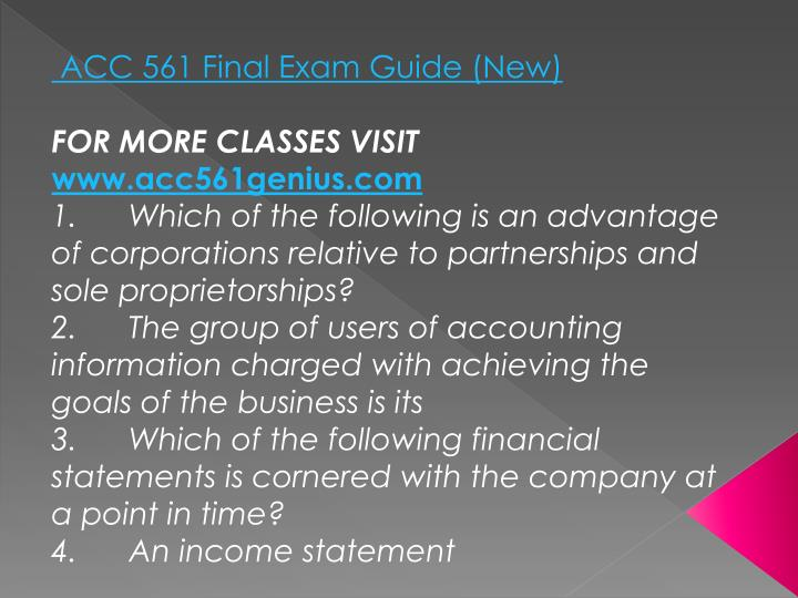 ACC 561 Final Exam Guide (New)