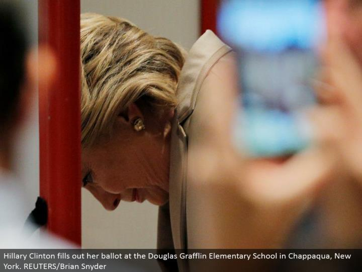 Hillary Clinton rounds out her tally at the Douglas Grafflin Elementary School in Chappaqua, New York. REUTERS/Brian Snyder