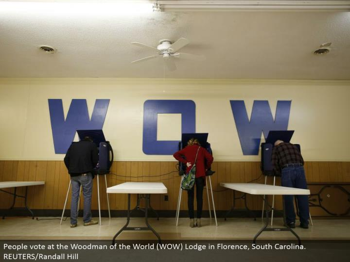 People vote at the Woodman of the World (WOW) Lodge in Florence, South Carolina. REUTERS/Randall Hill