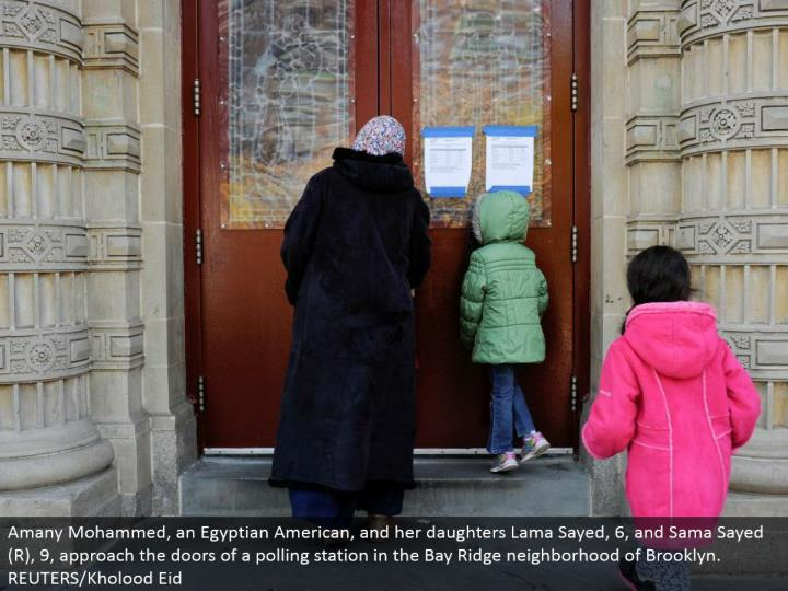 Amany Mohammed, an Egyptian American, and her little girls Lama Sayed, 6, and Sama Sayed (R), 9, approach the entryways of a surveying station in the Bay Ridge neighborhood of Brooklyn. REUTERS/Kholood Eid