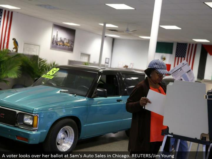 A voter investigates her vote at Sam's Auto Sales in Chicago. REUTERS/Jim Young