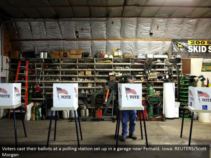Voters cast their tickets at a surveying station set up in a carport close Fernald, Iowa. REUTERS/Scott Morgan