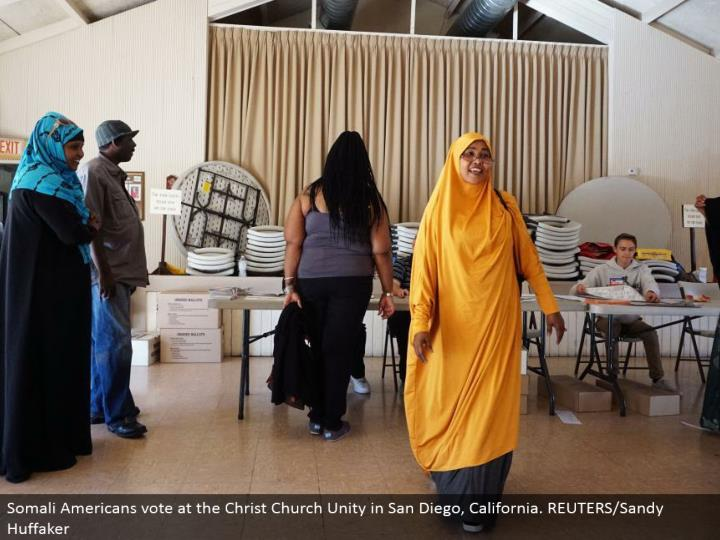 Somali Americans vote at the Christ Church Unity in San Diego, California. REUTERS/Sandy Huffaker