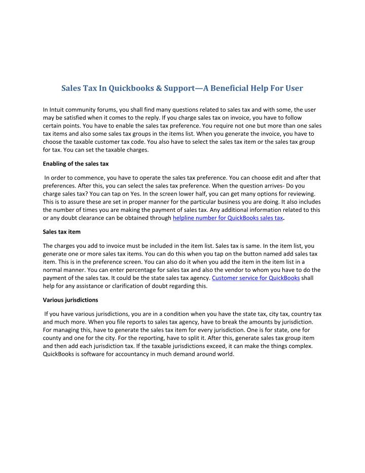 Sales Tax In Quickbooks & Support—A Beneficial Help For User