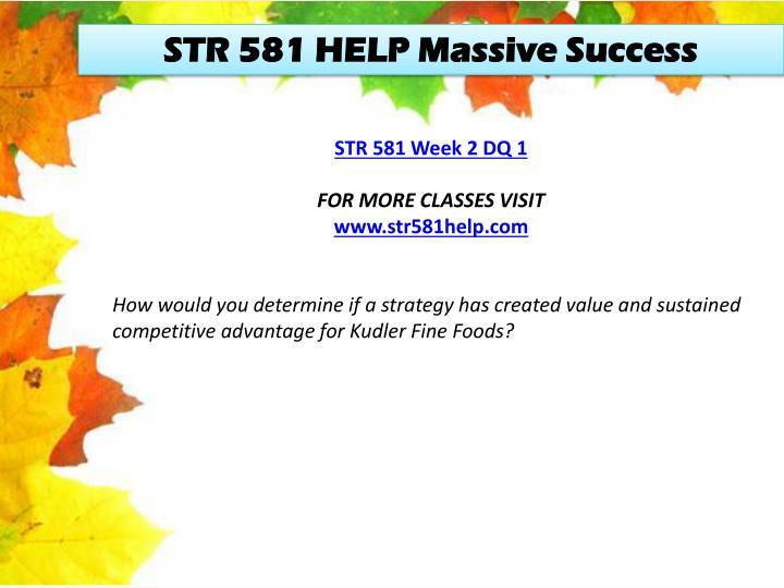 STR 581 HELP Massive Success