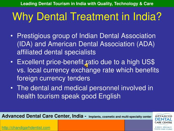 Why dental treatment in india