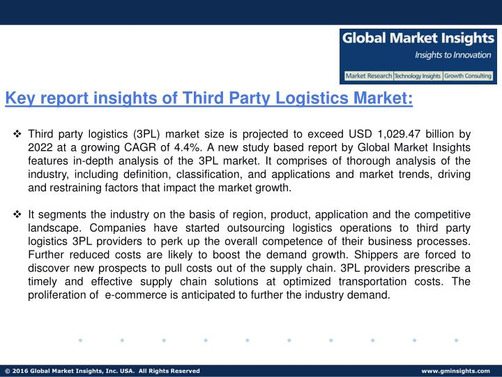 Key report insights of Third Party Logistics Market:
