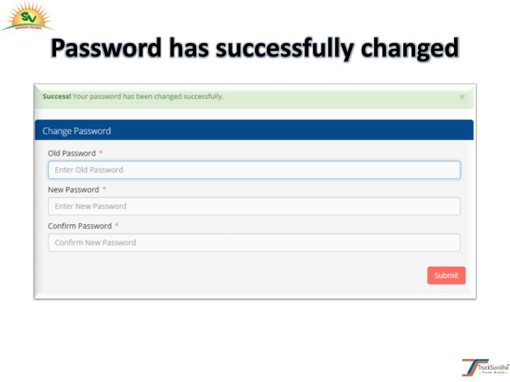 Password has successfully changed