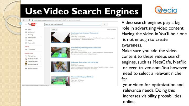 Use Video Search Engines