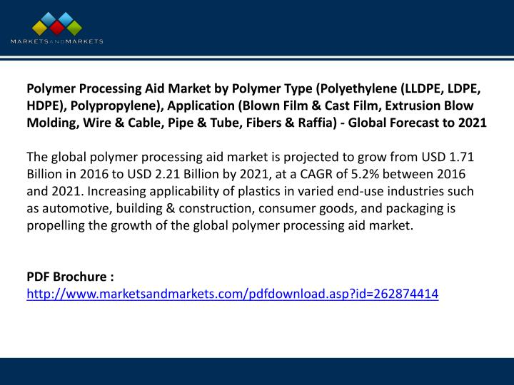 Polymer Processing Aid Market by Polymer Type (Polyethylene (LLDPE, LDPE, HDPE), Polypropylene), Application (Blown Film & Cast Film, Extrusion Blow Molding, Wire & Cable, Pipe & Tube, Fibers & Raffia) - Global Forecast to 2021