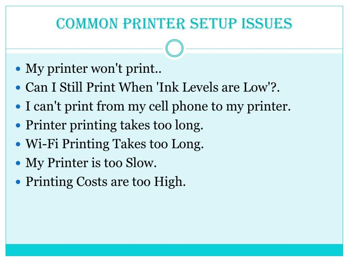 Common printer setup issues