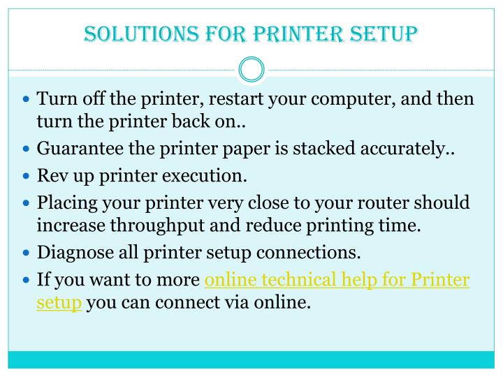 Solutions For Printer Setup