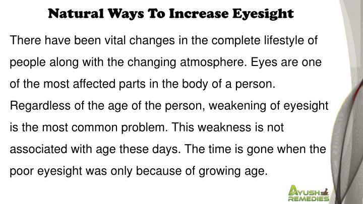 Natural Ways To Increase Eyesight