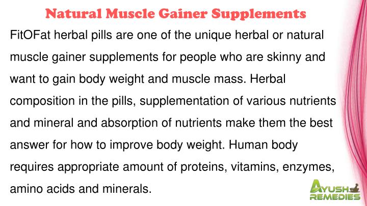 Natural Muscle Gainer Supplements