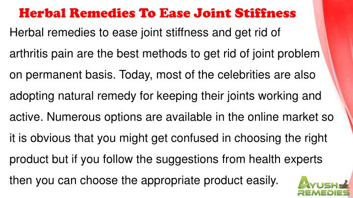 Herbal Remedies To Ease Joint Stiffness